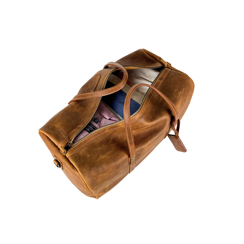 Leather weekender bag tan