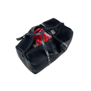 handmade leather duffle bag black