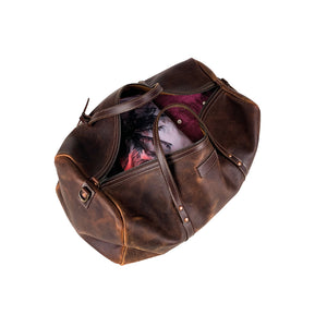 Leather duffle weekender bag brown