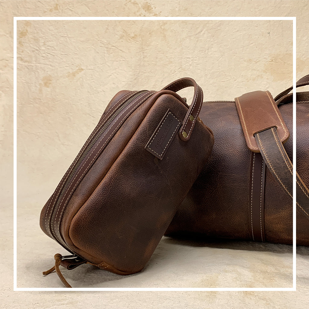Leather Dopp kit brown