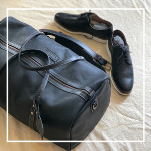 Leather weekender duffle bags black