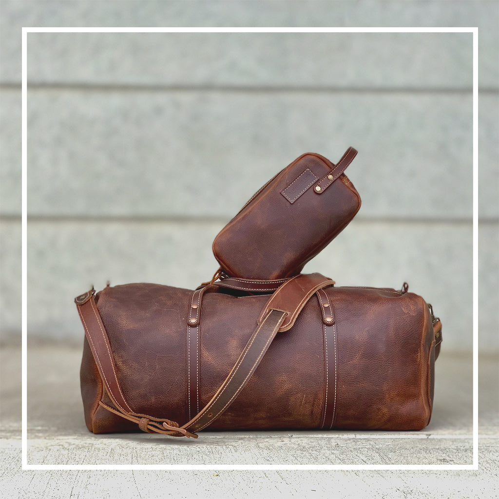 Leather duffle and weekender bag brown