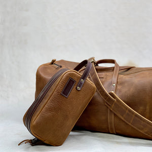 English tan Leather travel duffle bag