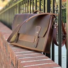 Load image into Gallery viewer, Leather Messenger Bag | Dark Brown