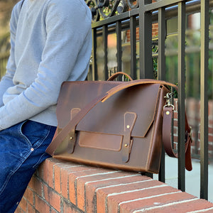 Leather messenger bags for men dark brown