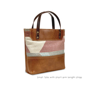 small leather tote bags | tan