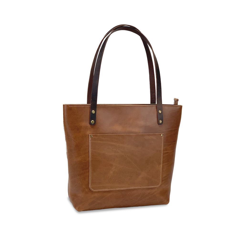 leather tote bag with zipper closure