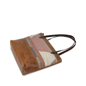 Tan canvas and leather tote bags and purses