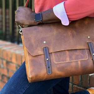 Leather messenger bag for men tan