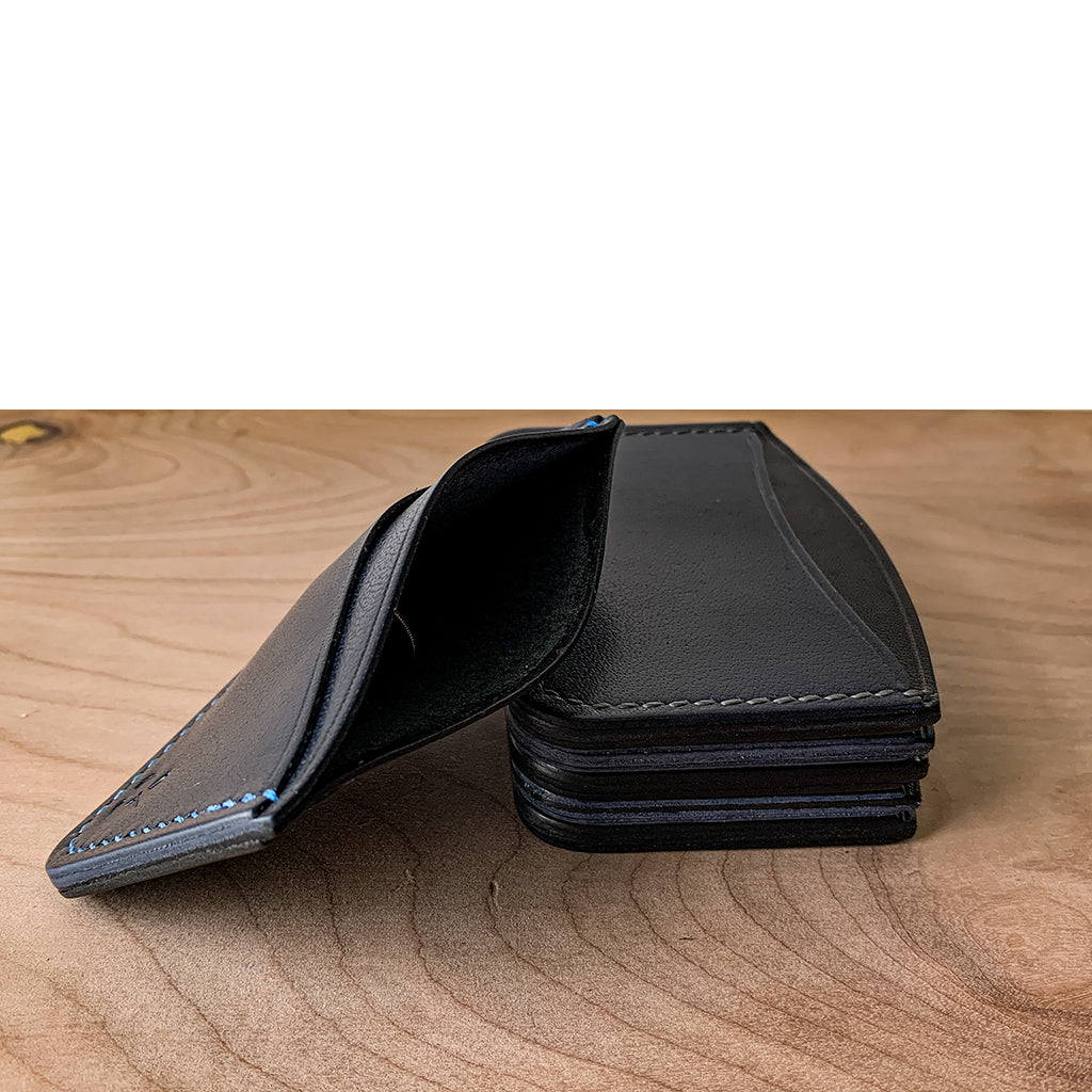black and blue card wallet