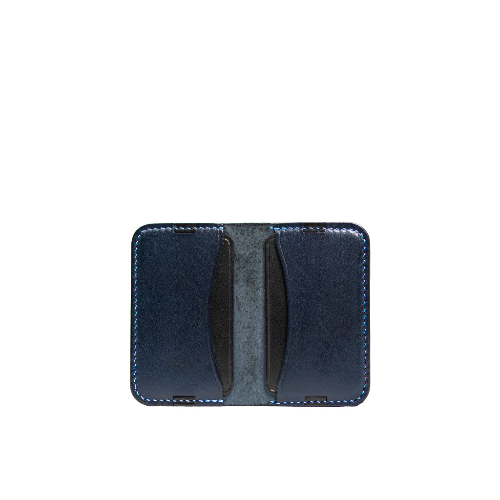 Leather minimalist card holder - blue