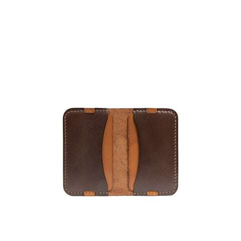 Leather minimalist card holder - brown
