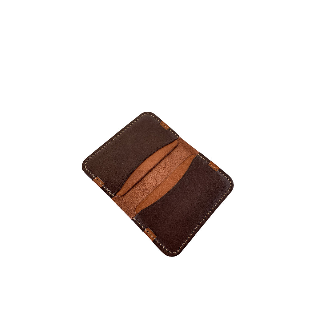 Leather minimalist card holder - dark brown