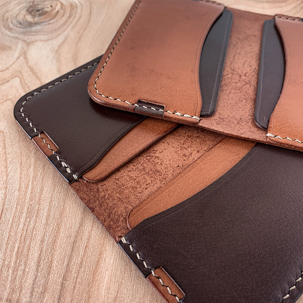 Leather minimalist card wallet- brown tan