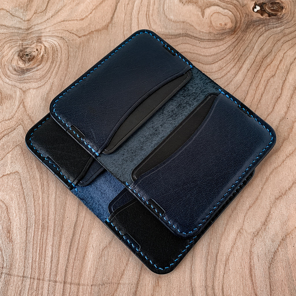 Blue and black minimalist card wallet