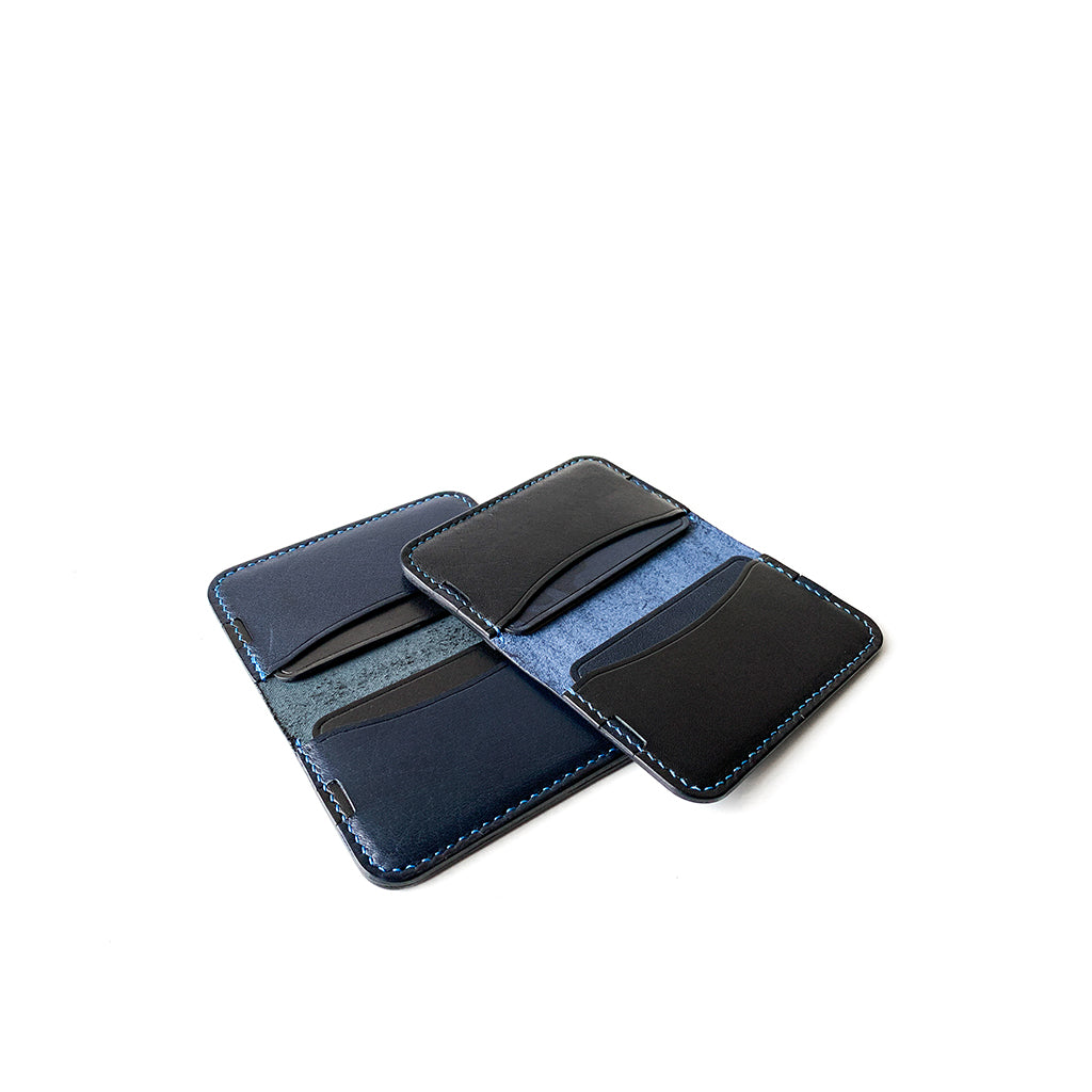 Leather minimalist card holder - blue black