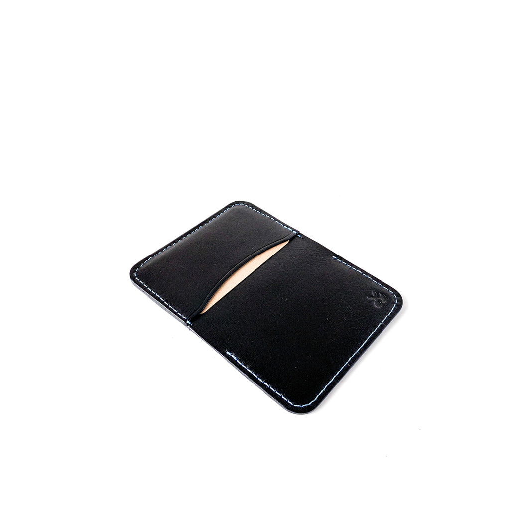 Leather minimalist card holder - black