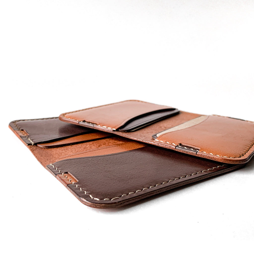 Leather minimalist card wallet- brown