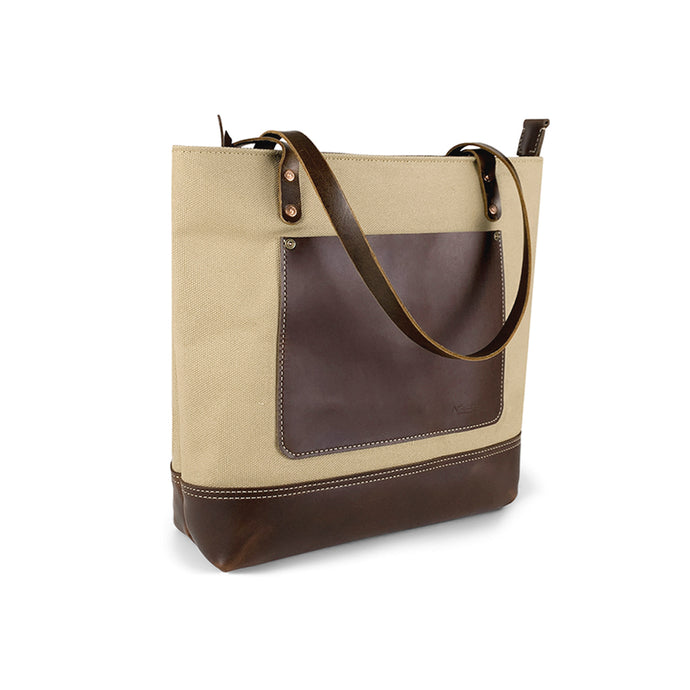 Genuine leather and canvas tote bags