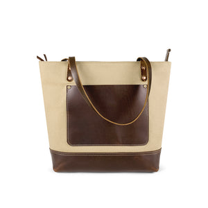 Canvas and Dark leather tote bag