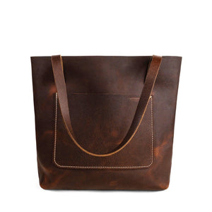 Brown Handmade leather shoulder tote | Pebbled Pitstop