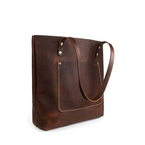 Dark Brown Handmade leather tote | Pebbled Pitstop