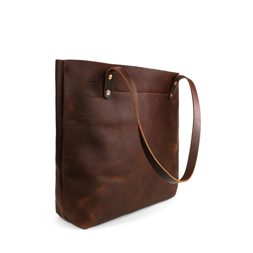 Dark Brown Handmade leather work tote | Pebbled Pitstop