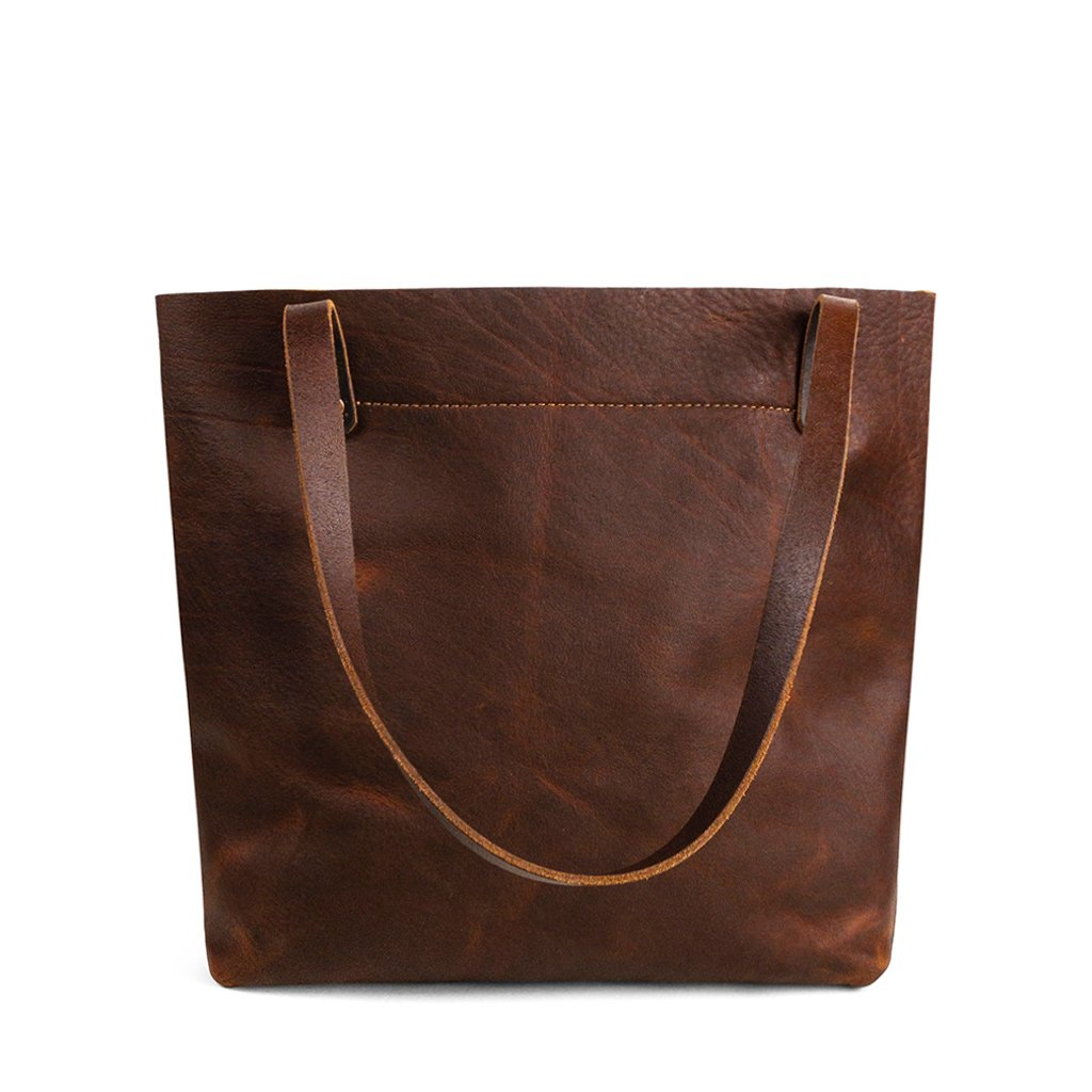 Dark Brown leather work tote | Pebbled Pitstop
