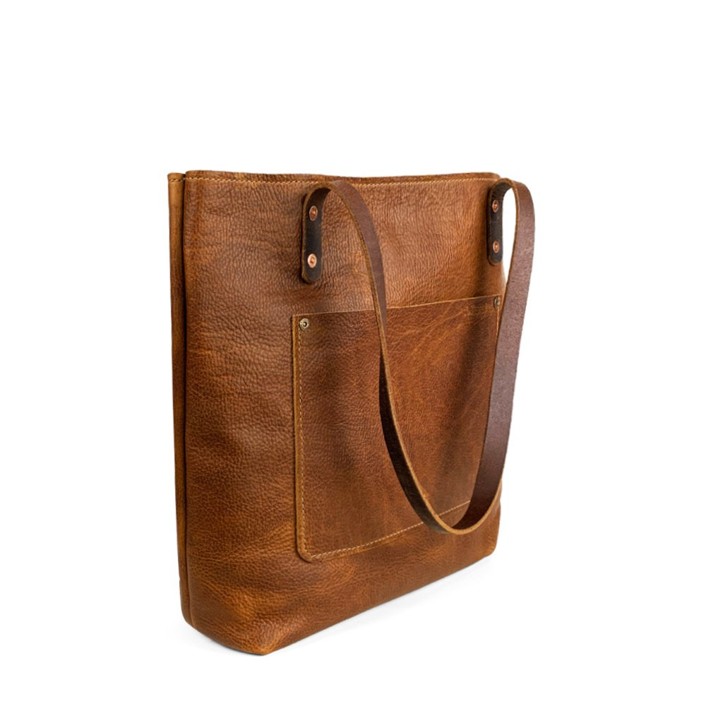 Leather Handmade tote work bag | Sunset Rage