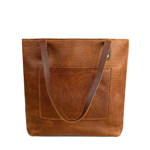 Leather Handmade shoulder Tote | Sunset Rage