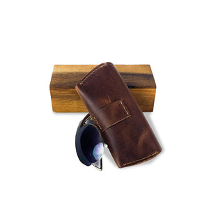 brown leather sunglasses case