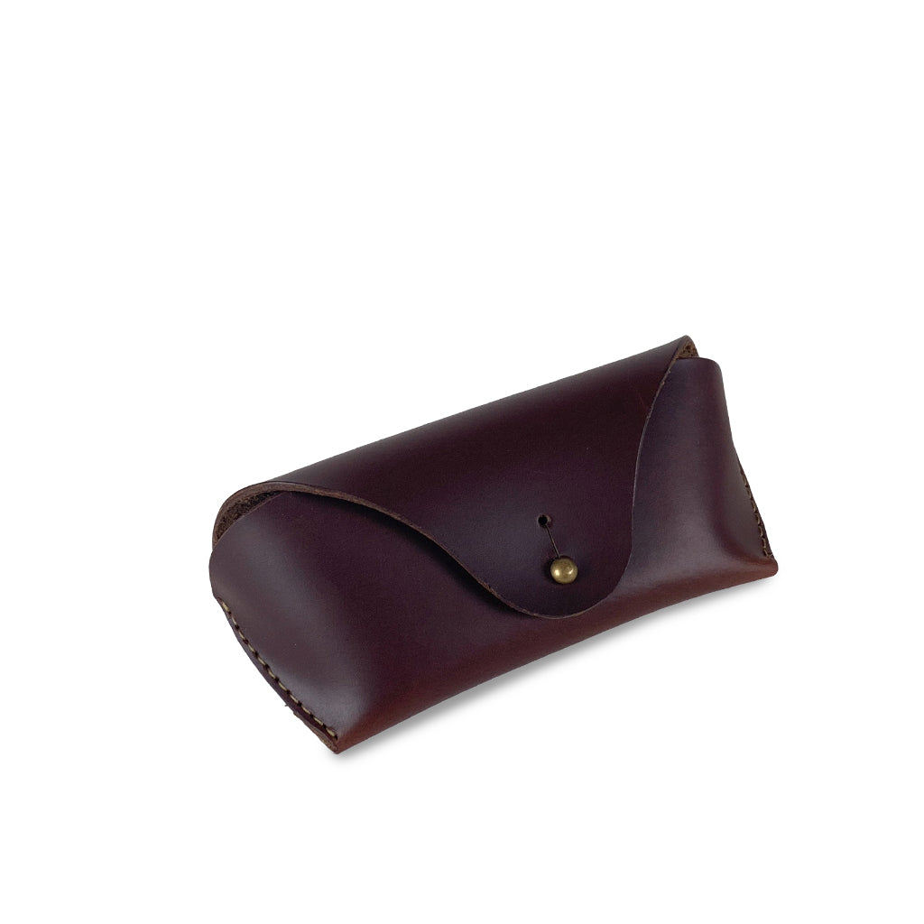 dark brown leather sunglasses case
