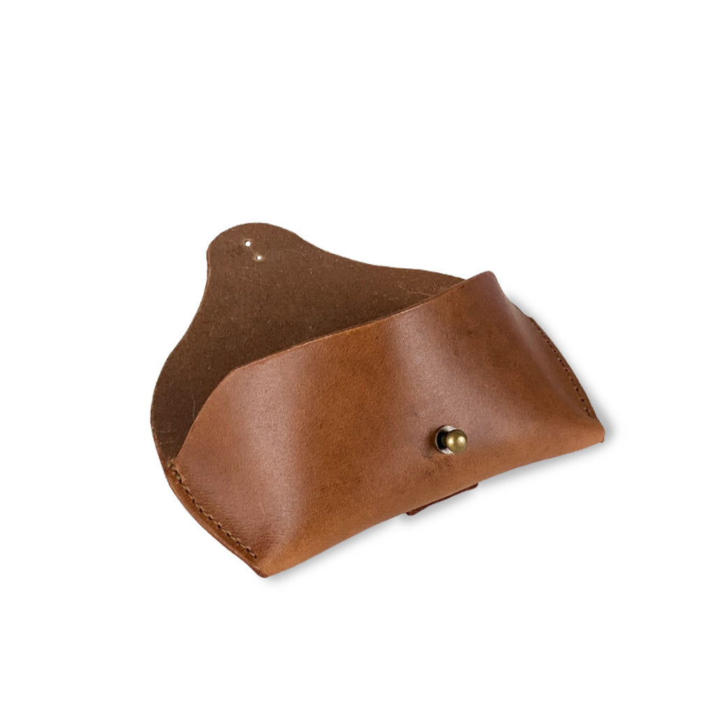 tan leather sunglasses case