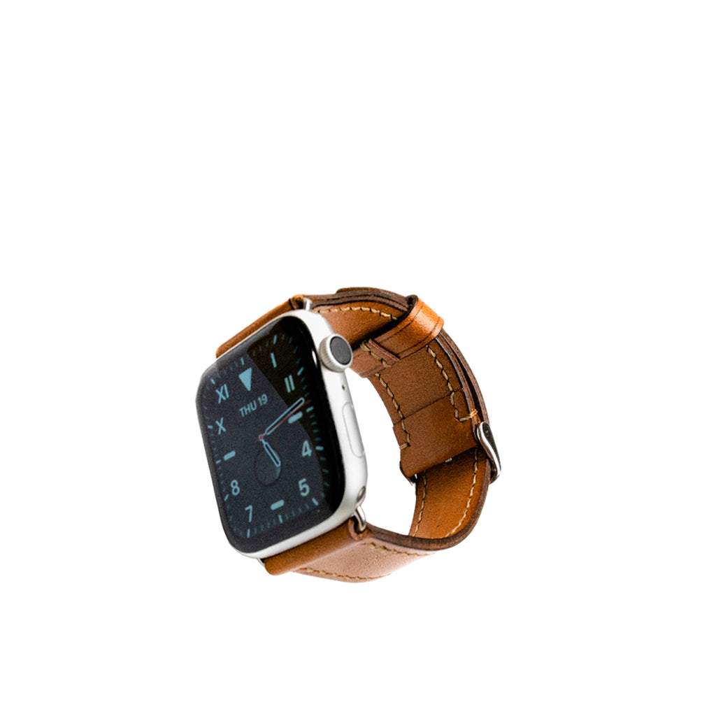 Tan Apple 42/44mm Leather Watch Strap