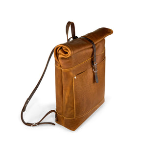 Travelers Leather roll top Backpack | Sunset Rage 01
