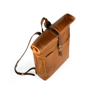 Travelers Leather roll top Backpack | Sunset Rage 03