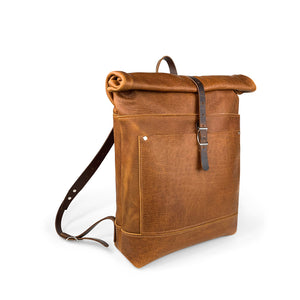 Travelers Leather roll top Backpack | Sunset Rage 10
