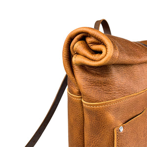 Travelers Leather roll top Backpack | Sunset Rage 07