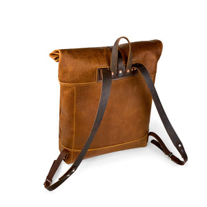 Travelers Leather roll top Backpack | Sunset Rage 04