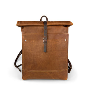 Travelers Leather roll top Backpack | Sunset Rage 06