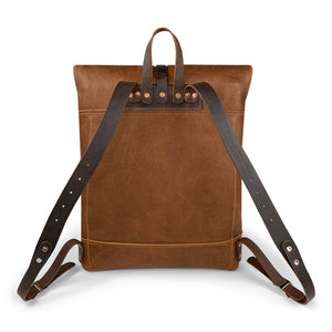 Travelers Leather roll top Backpack | Sunset Rage 05
