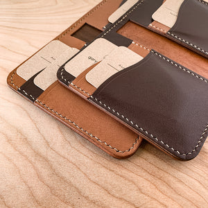 Leather Vertical Bifold Card wallet | British Tan