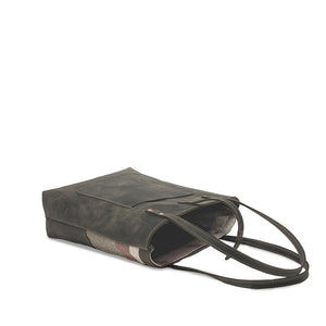 Leather tote bags gray with snap closure