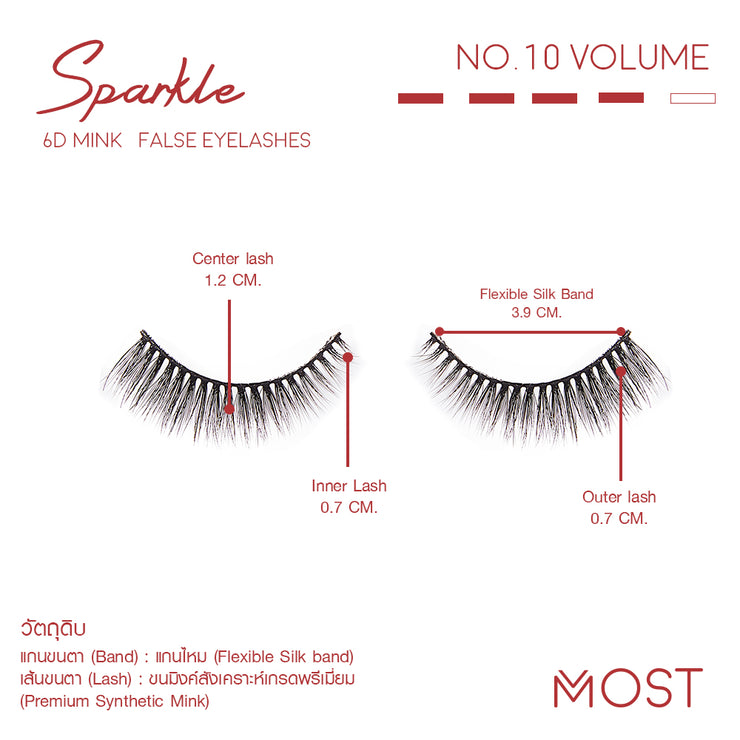 SPARKLE 6D MINK FALSE EYELASHES NO.10