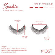 SPARKLE 6D MINK FALSE EYELASHES NO.11 (แพค 3 คู่)