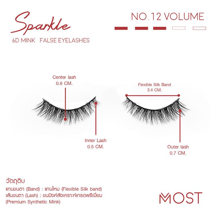 SPARKLE 6D MINK FALSE EYELASHES NO.12