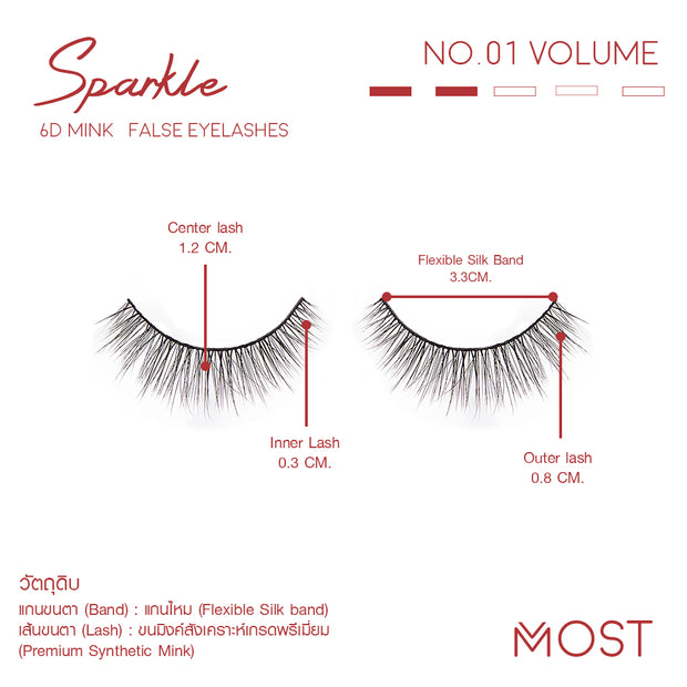SPARKLE 6D MINK FALSE EYELASHES NO.01  (แพค 3 คู่)