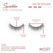 SPARKLE 6D MINK FALSE EYELASHES NO.02 (แพค 3 คู่)