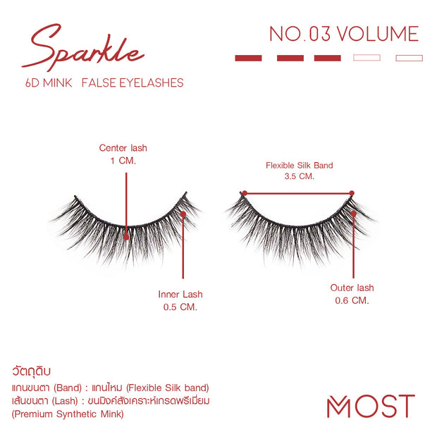 SPARKLE 6D MINK FALSE EYELASHES NO.03 (แพค 3 คู่)