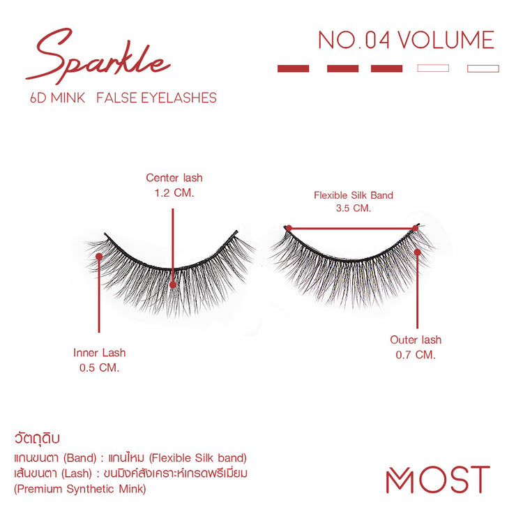 SPARKLE 6D MINK FALSE EYELASHES NO.04
